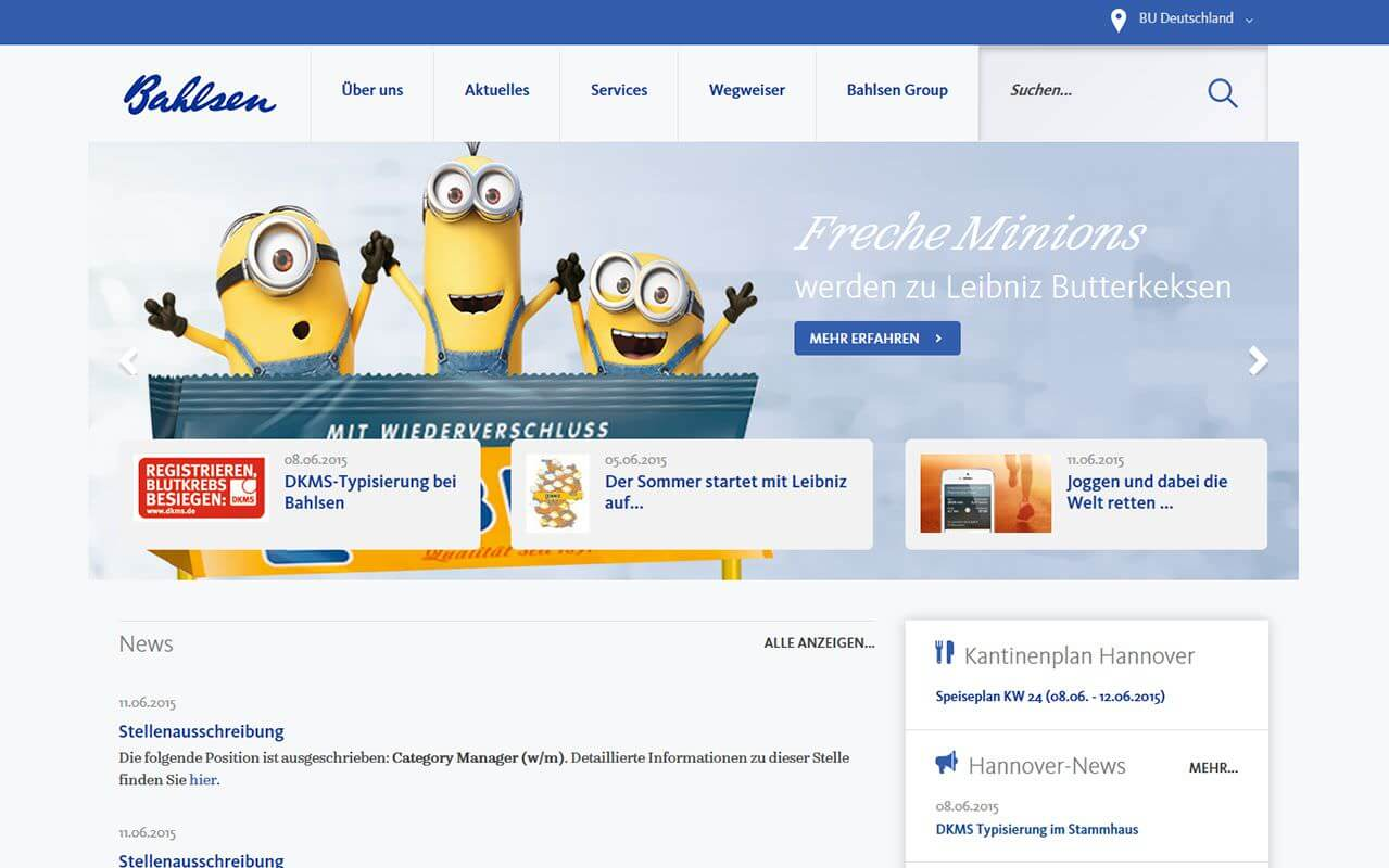 Intranet Agency sunzinet for Bahlsen