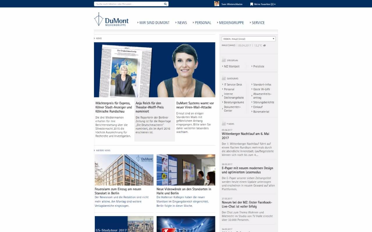 Intranet Agency sunzinet for DuMont