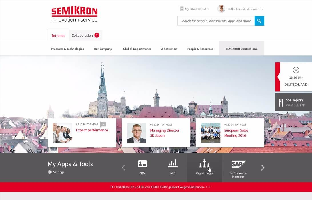 Intranet Agency sunzinet for Semikron