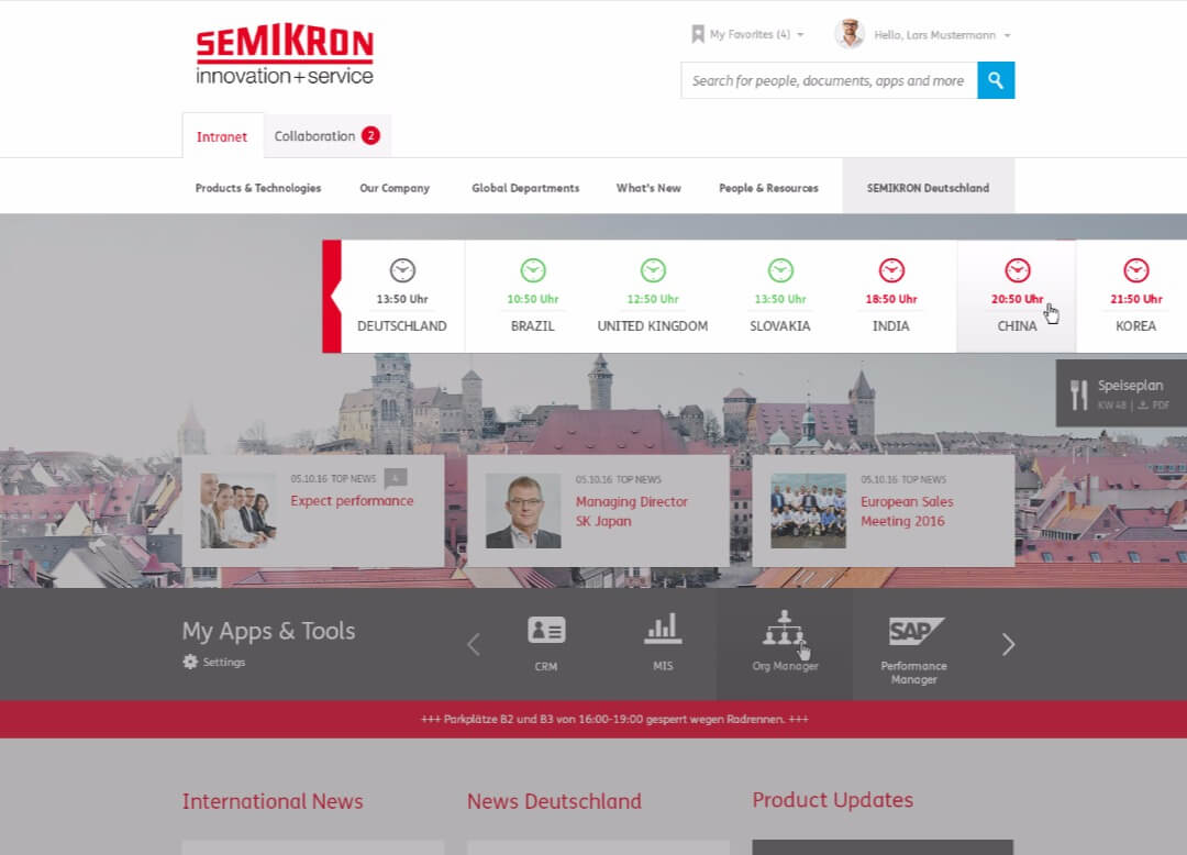 Semikron intranet with innovative functions
