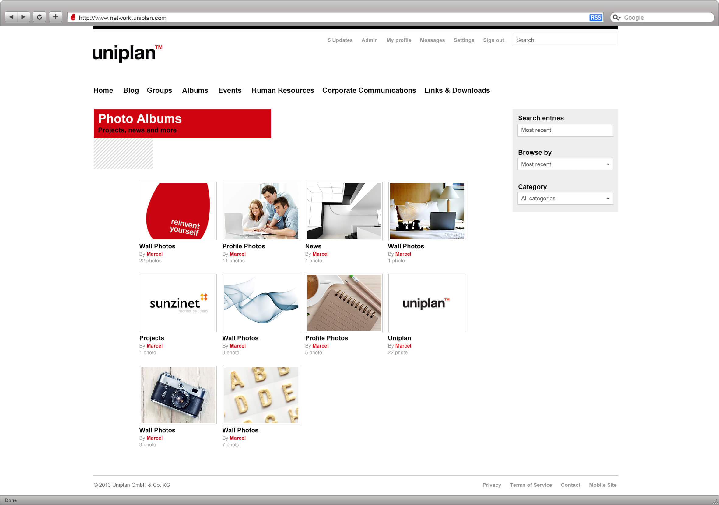 Intranet Agency sunzinet for Uniplan