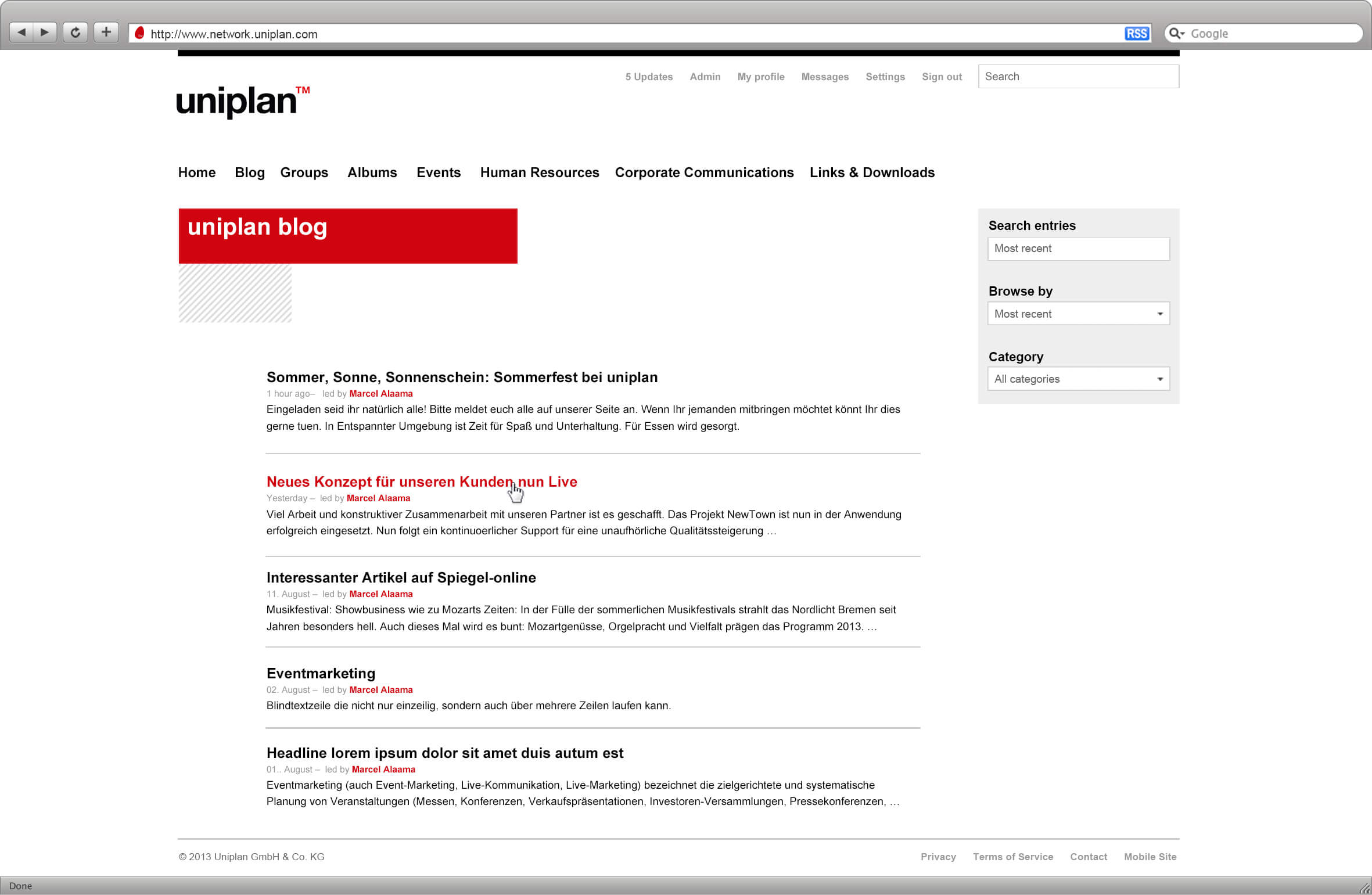 Uniplan Blog on the Intranet