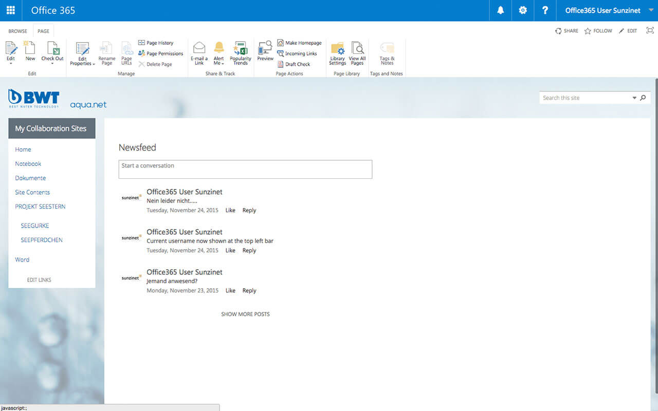 Intranet auf Basis von Office365